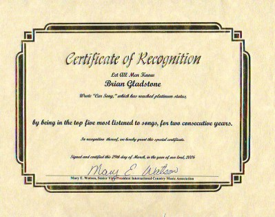 50,000 Plays Award From International Country Music