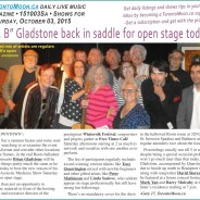 """Dr. B"" Gladstone back in saddle for open stage today"