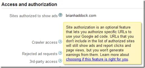 Adding authorized sites to Google AdSense settings