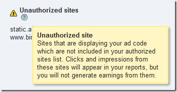 Google AdSense lists the sites