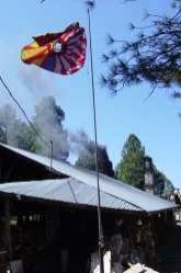 The Tozan Flag over a smokey kiln
