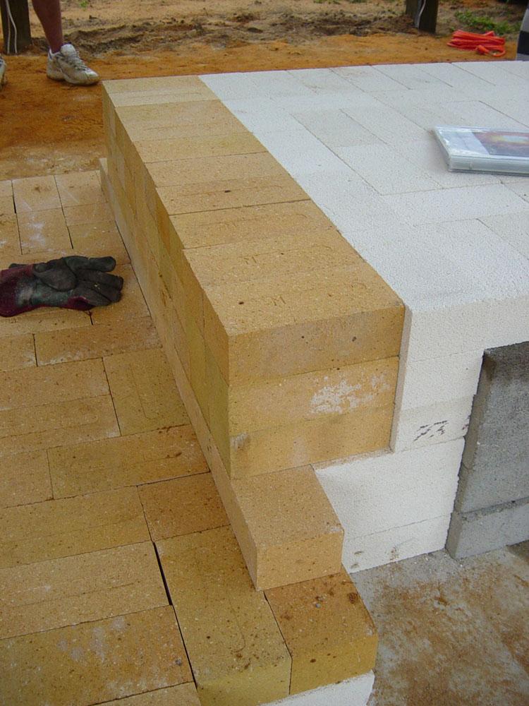 hard brick layer over insulating brick
