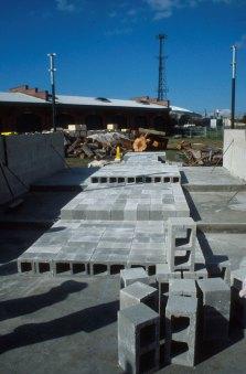 concrete block over concrete pad