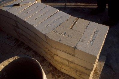 detail of straight walls at front of kiln