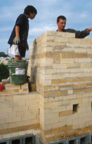 Jake Allee working on the chimney