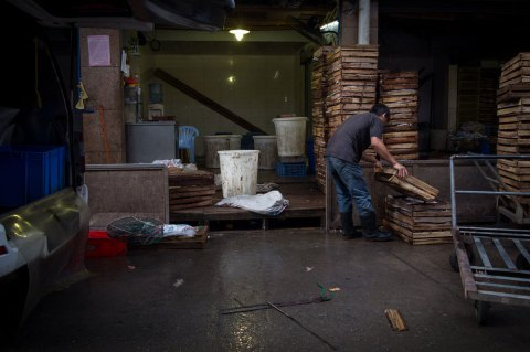 Worker at Seafood Market, Guangzhou, China (IMG_1679)