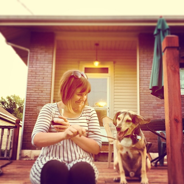 Tiffany and Oliver on the deck