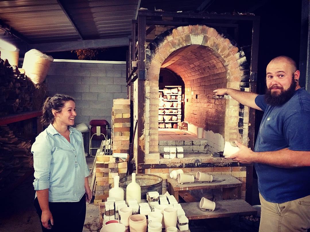 Abby and Sam at the wood kiln