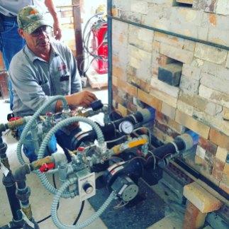 Soda kiln - installing new burners