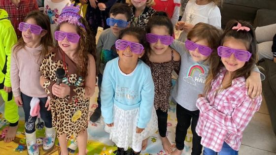 The kids get some fun glasses with the dance party.