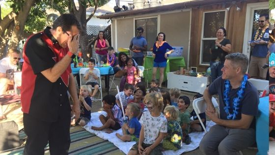 Magic shows kids love to laugh both inside and outside.