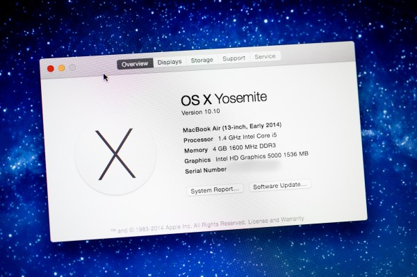 Mac OS X Yosemite Screen