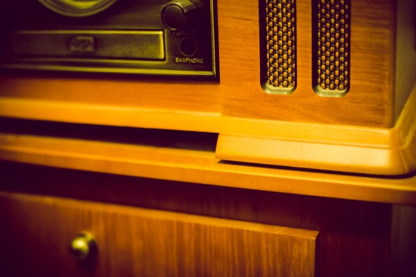 wood grain record player