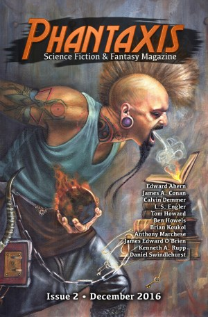 Science fiction & fantasy magazine cover, featuring a tattooed man with a mohawk breathing cold air onto a stack of flaming books chained to his waist. He's holding a magic fireball in his only visible hand