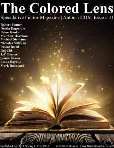 Cover of speculative fiction magazine, featuring an open book on a rough wooden table, its pages frozen in mid-flip as it spews magic motes of shimmering golden stardust into the darkness. Links to Amazon.