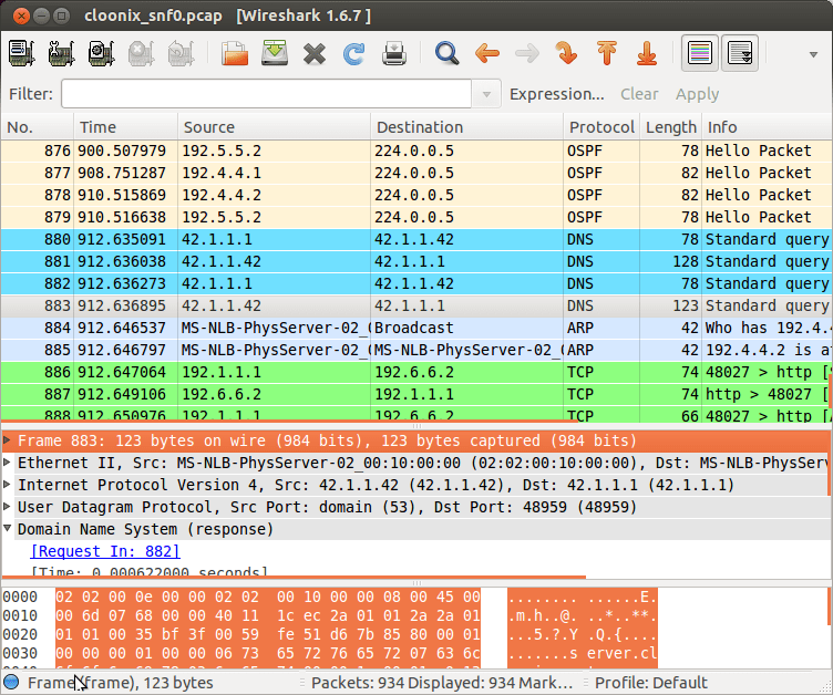 wireshark trace of completed cloonix network simulator lab demo