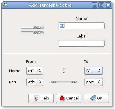 add straight cable dialogue box