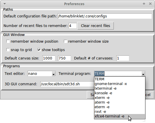 core network emulator preferences panel