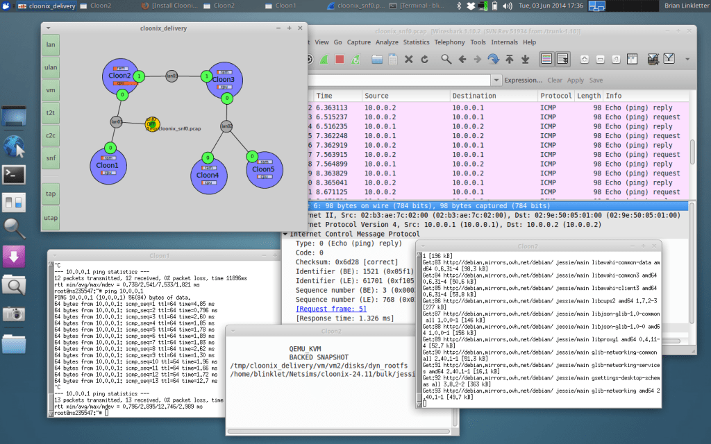 Cloonix open-source network simulator on Linux