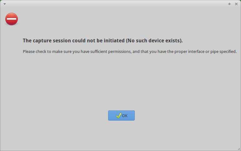 Wireshark error message