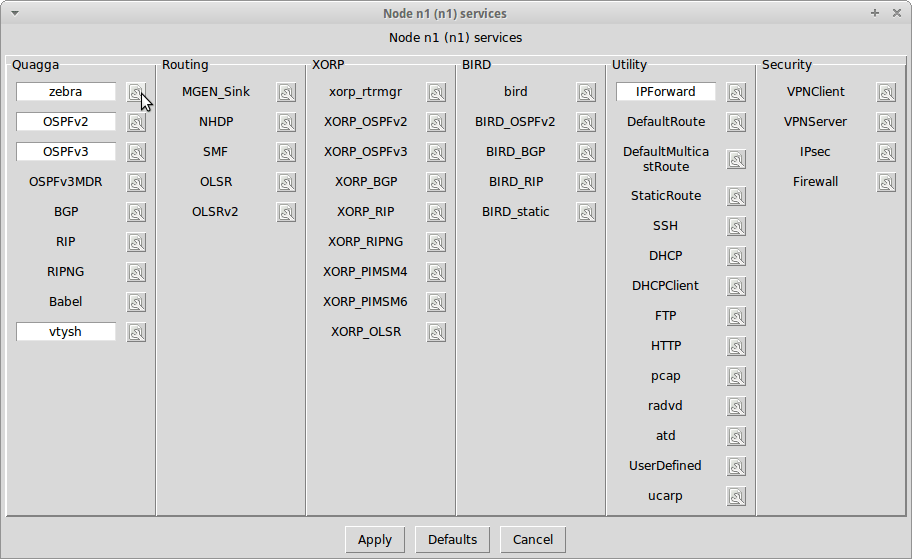 The default services selected on the router node