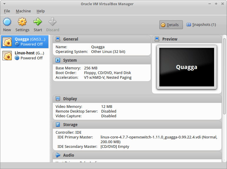 VirtualBox VMs created from GNS3 Core Linux  Appliances