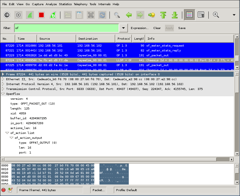 Viewing captured OpenFlow messages in Wireshark