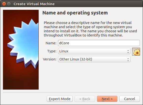 Create new dCore VM in VirtualBox