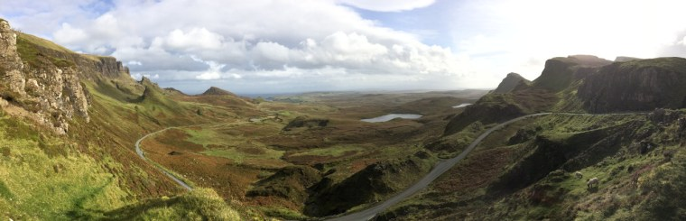 The view from my family's picnic spot, overlooking the Quiraing in the Scottish Highlands, on our tripthere