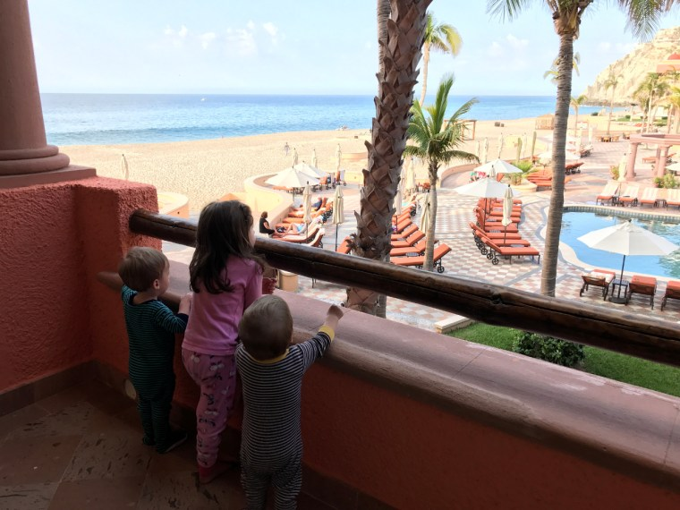 My Three Kids Looking Out from the Balcony of Our Room