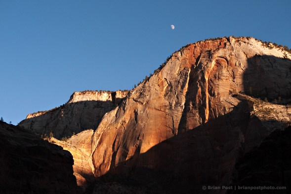 Sunset and moon in Zion National Park.