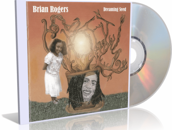 Dreaming Seed album cover, artistic tree, little girl, Brian Rogers drawing, orange-red background
