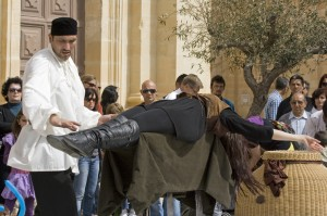 Brian Role` and Lola Palmer Suspended On Swords in Mdina - Themed Magic and Illusion Shows