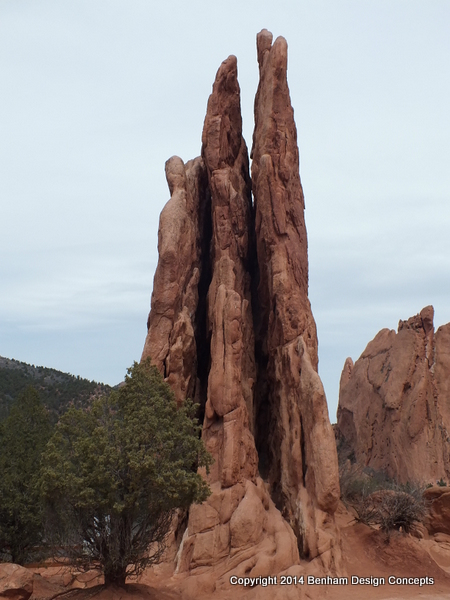 From the plaza Three Graces Rock Formation at The Garden of The Gods