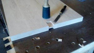Hand cut mortise with chisel