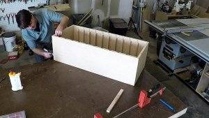 Gluing and nailing plywood into rabbets