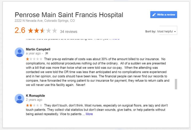 1 star google review penrose medical center