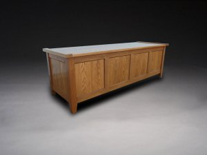 craftsman style oak bench with storage in the arts and crafts style