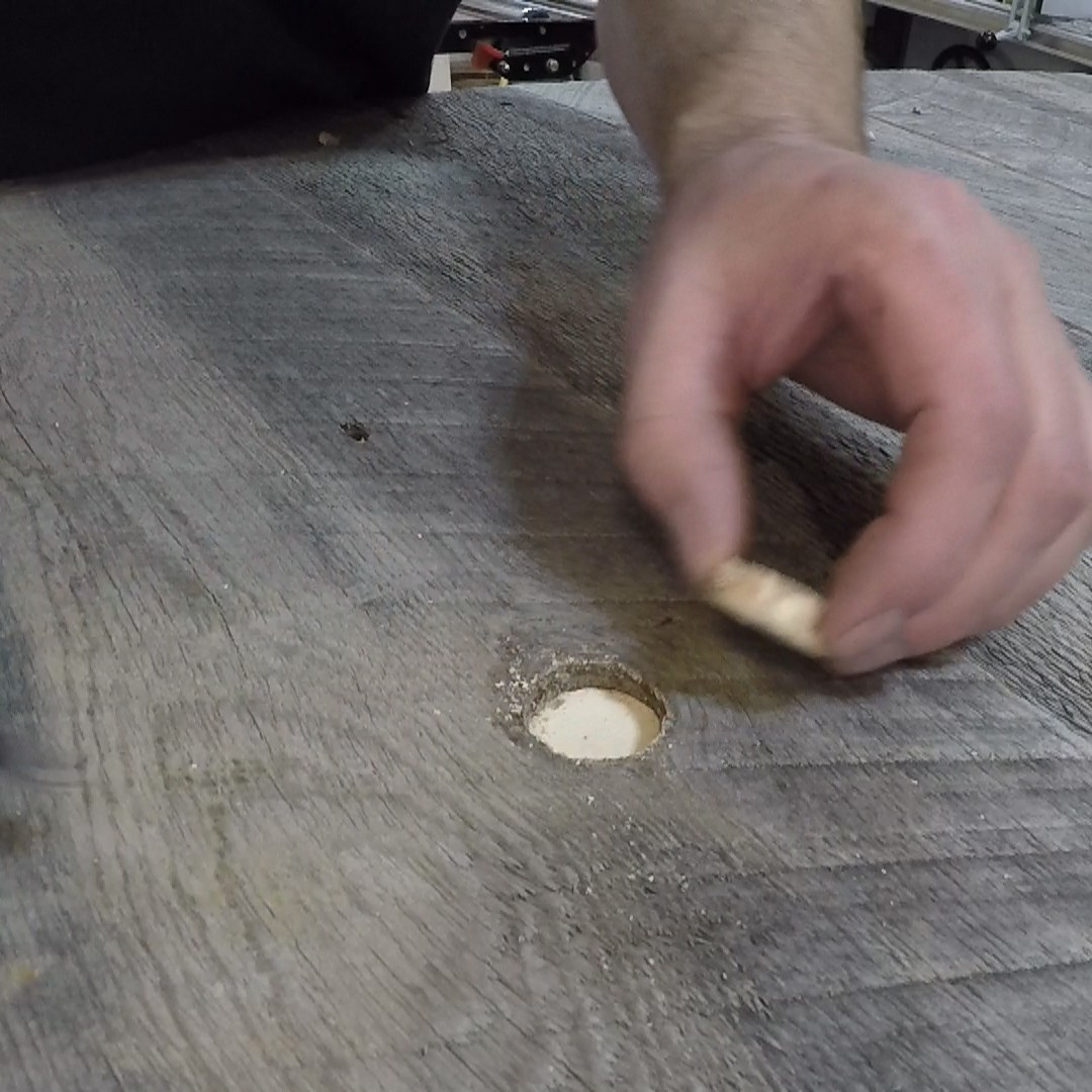fixing a knot hole in barn wood
