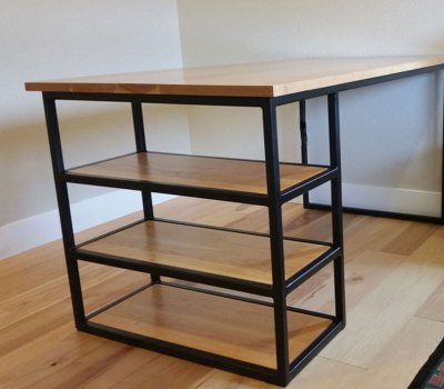 modern industrial style desk from wood and steel