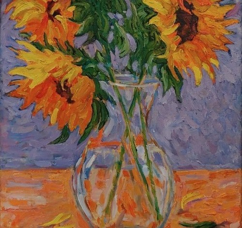 Painting of flowers in the sun by Greg Custer