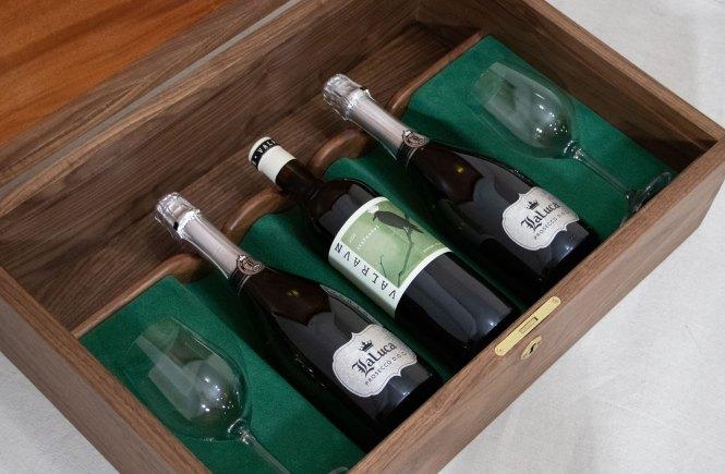 Custom wine bottle display case