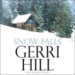 Snow Falls Audiobook Cover (a small cottage sitting on a hill with snow surrounding it)