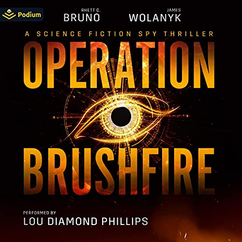 Operation Brushfire Audiobook Cover (black with an orange drawn eye in the middle)
