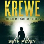 The Krewe Audiobook Cover (A silhouette with a bright light seemingly standing on a railroad track. The title in yellow).