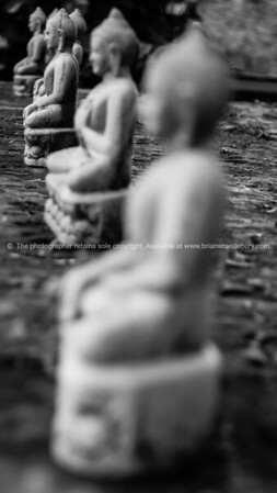 Stone Buddha images lined up. Selective focus in Black and white.Myanmar Travel Images