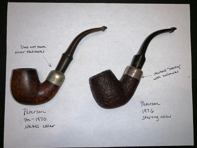 Comparison between two Peterson pipes. One showing hallmarks, the other does not have Silver hallmarks.