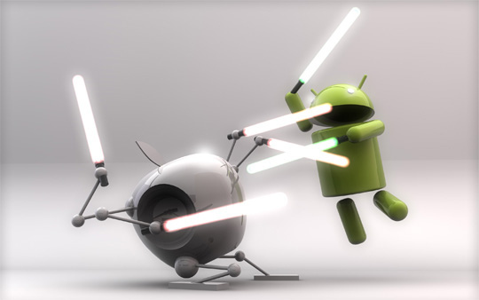 android and iOS icons battling