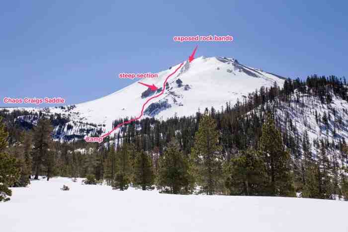 The route we took up Lassen Peak