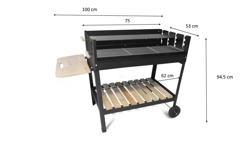 Dimensioni e ingombro del barbecue montato